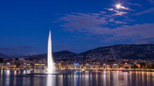 Vue nocturne de la rade de Genève